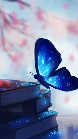 Butterfly, books, magic, art (vertical)