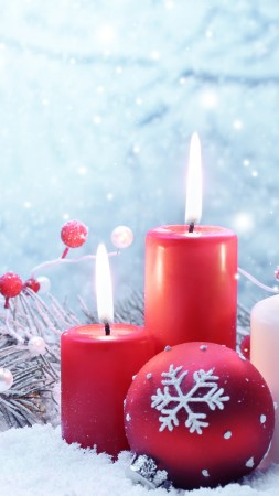 Christmas, New year, candle, balls, fir-tree, snowflakes, snow, decorations (vertical)