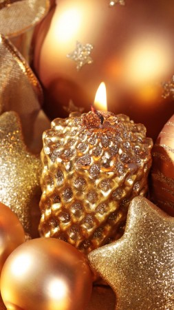 Christmas, New Year, star, candle, gift, balls, gold, decorations (vertical)