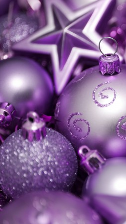 Christmas, New year, balls, decorations, star, purple (vertical)