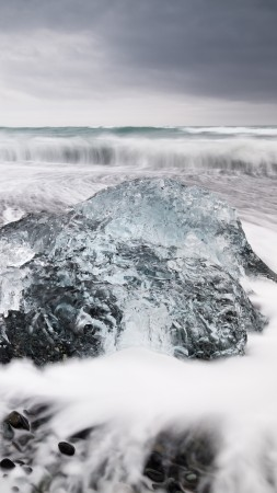 Iceland, Jokulsarlon beach, Ice block, ice lagoon, sea, ocean, white, winter