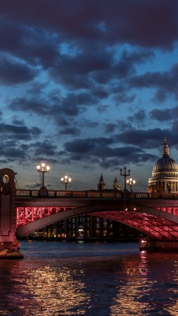 London, river Thames, St Paul, cathedral, water, night, clouds, sky, sunset, twilight, night, light, travel, vacation