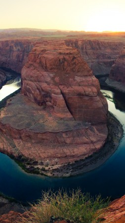 Horseshoe Bend, Paige, Arizona, lake, golden canyon, clear sky