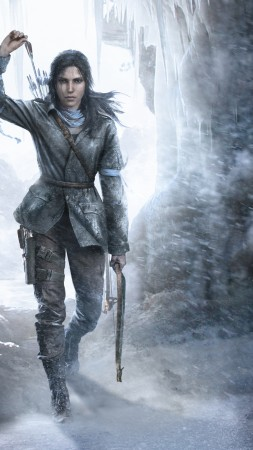 Rise of the Tomb Raider, Lara Croft, game, bow, ice, art, Best Games, sci-fi, PC, PS4, Xbox One (vertical)