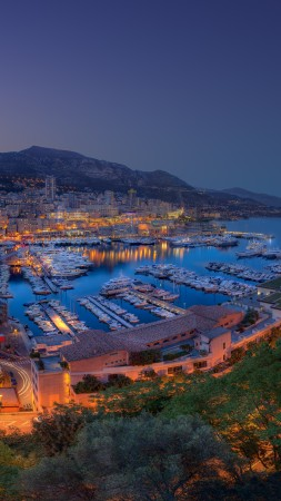 Monaco, Principality, city, twilight, night, sky, light, boats, travel, vacation, booking, sea, ocean, races, harbor (vertical)
