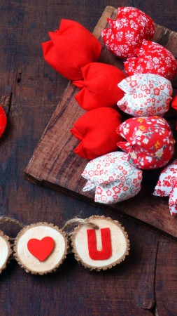 Valentine's Day, heart, decorations, tulip, romantic, love (vertical)