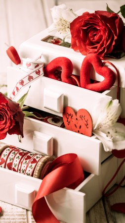 Valentine's Day, rose, heart, ribbon, romantic, love (vertical)
