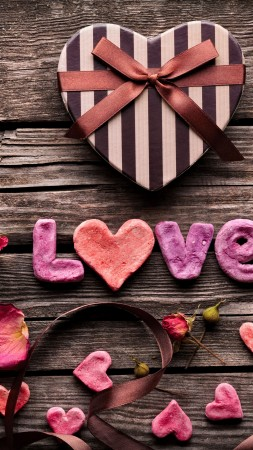 Valentine's Day, heart, decorations, romantic, love, ribbon (vertical)