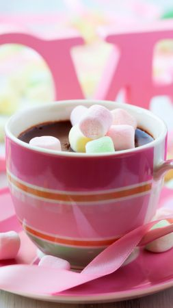 Valentine's Day, romatic, cup, coffee, rose, love (vertical)