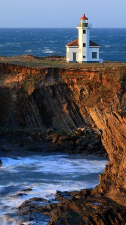 Charleston, Gregory Point, Oregon, Lighthouse, sea, ocean, water, blue, rock, sun
