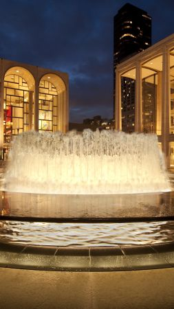Lincoln Center for the Performing Arts, New York, NY, USA, tourism, travel, fountain (vertical)