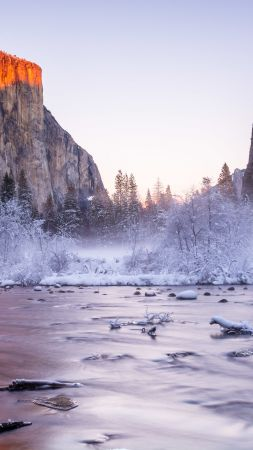 Yosemite, National Park, California, USA, winter, tourism, travel, lake, mountain