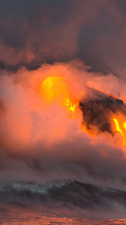 Hawaii, 5k, 4k wallpaper, 8k, eruption, volcano, travel, tourism, lava, National Geographic Traveler Photo Contest (vertical)