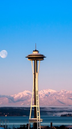 Seattle, tower, sunrise, sea, ocean, water, morning, moon, pink, clear, sky, mountain, travel, vacation (vertical)