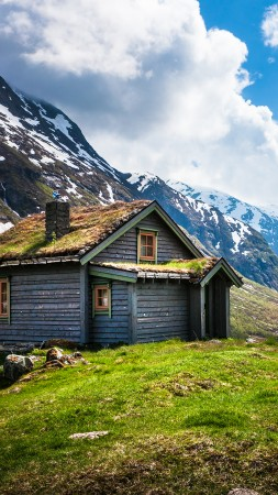 Norway, 4k, HD wallpaper, Geiranger, Stryn, mountain, clouds, house, sky, snow, green grass (vertical)