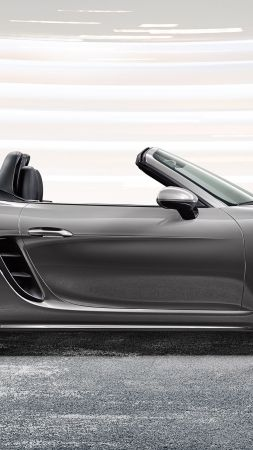 Porsche 718 Boxster, sports car, grey (vertical)