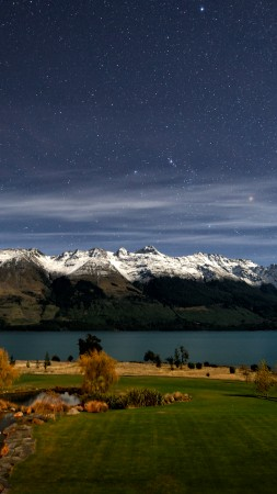 New Zealand, 4k, HD wallpaper, Queenstown, Lake Wakatipu, stars, mountain, snow, green grass, sky, landscape (vertical)