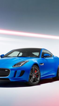 "Jaguar F-Type S, Brussels Motor Show 2016, Coupe, ""British Design Edition"", blue (vertical)"