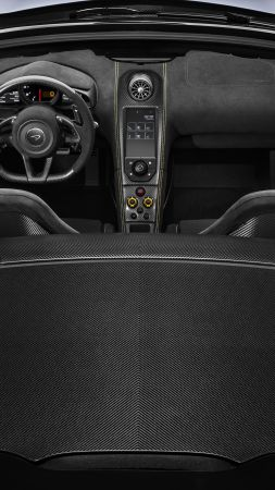 McLaren MSO 675LT Spider, Geneva International Motor Show 2016, sports car, interior (vertical)