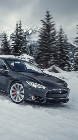 Tesla model S P85D, Quickest Electric Cars, sport cars, electric cars, suv, black (vertical)