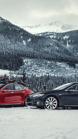 Tesla model S P85D, Quickest Electric Cars, sport cars, electric cars, suv, black, red (vertical)