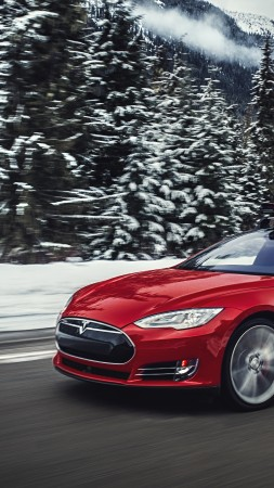 Tesla model S P85D, Quickest Electric Cars, sport cars, electric cars, suv, red (vertical)