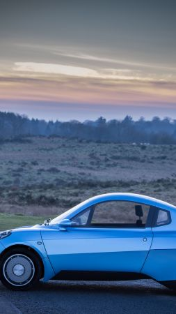 Riversimple Rasa, hydrogen-powered city car, hydrogen, blue (vertical)
