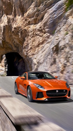 Jaguar F-Type SVR, Geneva Auto Show 2016, roadster, orange (vertical)