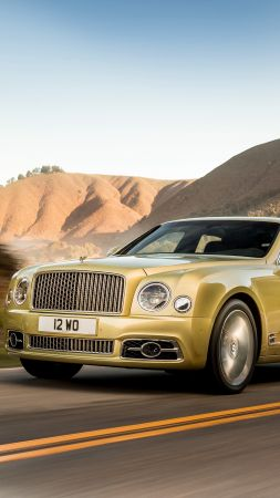 Bentley Mulsanne Speed, Geneva Auto Show 2016, gold, luxury car (vertical)