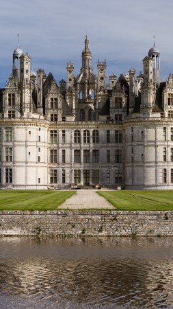 Chambord, France, Loir-et-Cher Chambord, Chateau, Castle, travel, vacation, lake, sea, water, green grass, landscape (vertical)