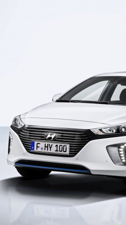 Hyundai IONIQ, Electric Car, hybrid, white (vertical)