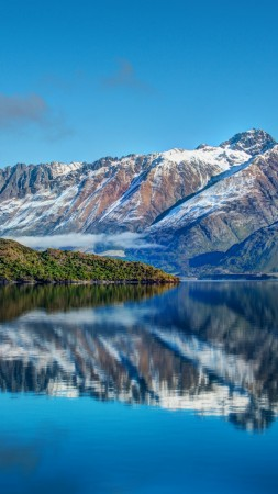New Zealand, Mountain, 4k, HD wallpaper, Lake, sea, water, sky, reflection, landscape (vertical)