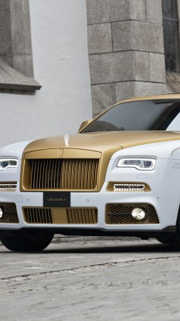 Mansory Rolls-Royce Wraith, Wraith Palm Edition 999, Geneva Auto Show 2016, luxury cars, gold (vertical)