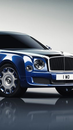 Bentley Mulsanne Grand Limousine, Geneva Auto Show 2016, luxury cars, blue (vertical)