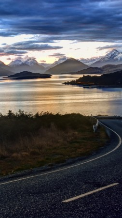 New Zealand, nature, sky, clouds, lake, road, landscape, water, mountain
