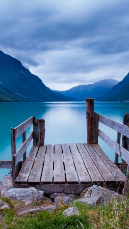 Norway, 5k, 4k wallpaper, bridge, sea, lake, water, blue, sky, clouds, mountain (vertical)