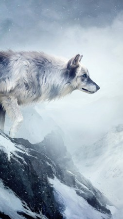 wolf, 4k, HD wallpaper, mountain, girl, animals, winter, drawing, snow, fantasy, art (vertical)