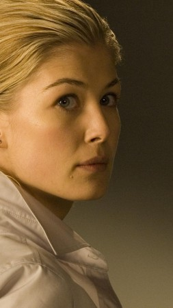 Rosamund Pike, gone Die Another Day, dress, black and white (vertical)