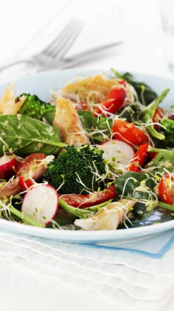 broccoli, spinach, cherry tomatoes, spinach, radishes, turkey, cooking, recipe (vertical)