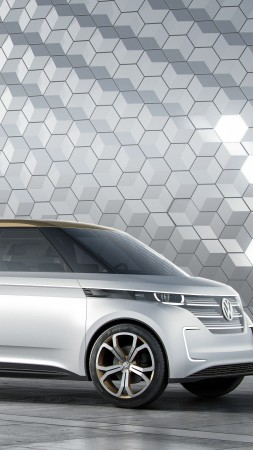 Volkswagen BUDD-e, CES 2016, electric microbus, silver (vertical)
