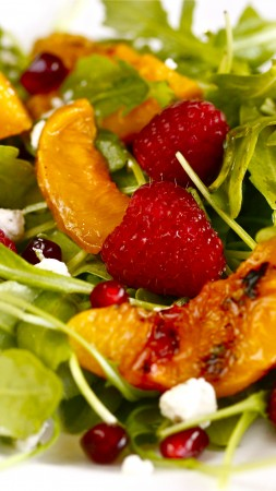 arugula, pomegranates, raspberries, nectarines caramelized, recipe, cooking (vertical)