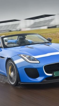 Jaguar F-Type Project 7, roadster, ZA-spec, blue (vertical)