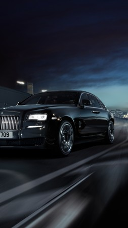 "Rolls-Royce Wraith ""Black Badge"", Geneva Auto Show 2016, luxury cars, black (vertical)"