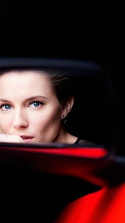 Sienna Miller, Actress, red, car, reflection, mirror