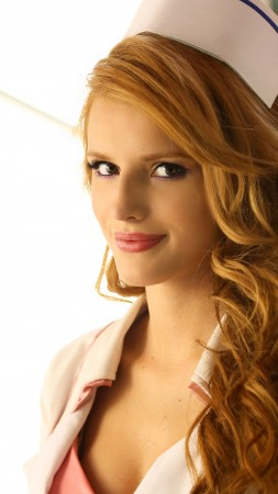 Bella Thorne, Actress, red hair, nurse, red lips, white