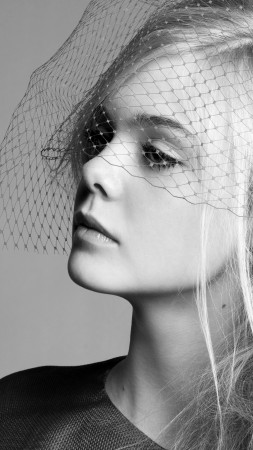 Elle Fanning, Actress, blonde, black and white photo, mysterious, portrait (vertical)