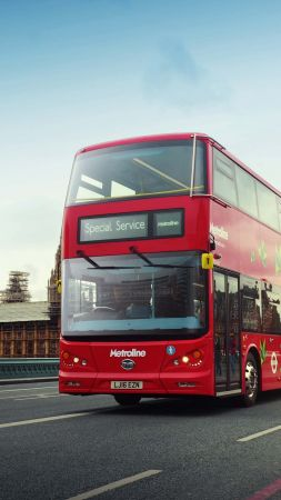 electric bus, london, first electric double decker bus (vertical)