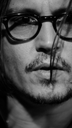 Johnny Depp, director, musician, screenwriter, producer, glasses, hair, beard,  (vertical)