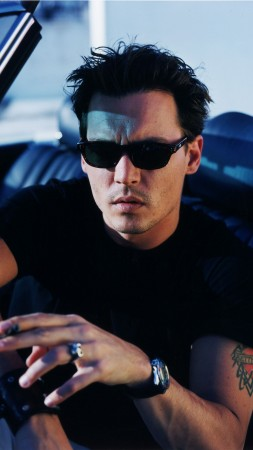 Johnny Depp, actor, director, musician, screenwriter, producer, car, glasses, cigarette, tattoo (vertical)