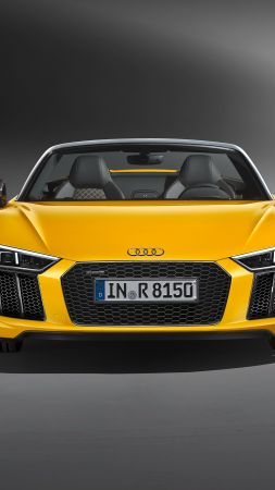 Audi R8, NYIAS 2016, supercar, yellow (vertical)